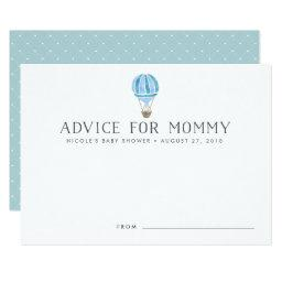 Hot Air Balloon Baby Shower Advice Cards | Blue