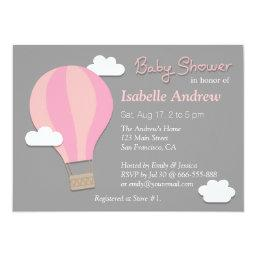 Hot Air Balloon, Girl Baby Shower Party, Grey