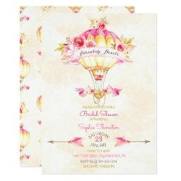 Hot Air Balloon Pink Gold Yellow Arrows Roses