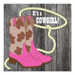 Hot Pink Barn Wood Cowgirl Baby Shower