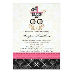 HOT PINK BLACK DAMASK BABY CARRIAGE BABY SHOWER