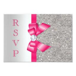 Hot Pink Faux Bow & Diamonds RSVP