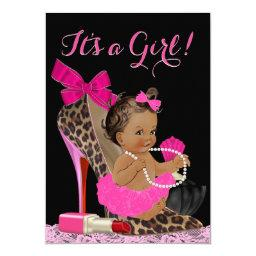 Hot Pink Leopard High Heel Shoe Ethnic Baby Shower