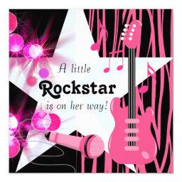 Hot Pink Zebra Rockstar Baby Girl Shower