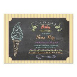 Ice Cream Sweet Baby Shower Chalk Stripe Invite