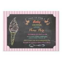 Ice Cream Sweet  Chalk Stripe Invite
