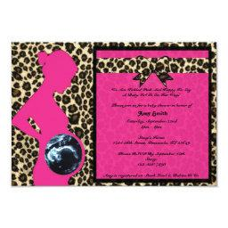 Hot Pink Leopard Baby Shower Sonogram