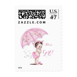 It's a Girl  Girl Flowers Pink Umbrella Postage