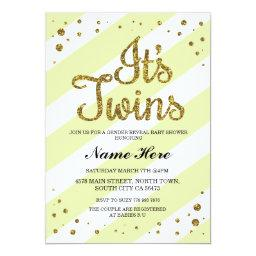 It's Twins  Gender Reveal Yellow Invite