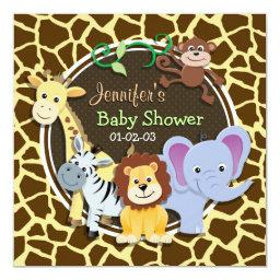 Jungle Animals on Brown Giraffe Animal Print