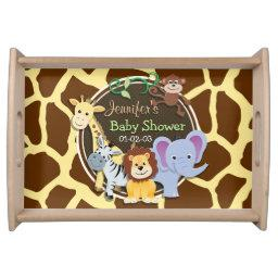 Jungle Animals on Brown Giraffe Animal Print Serving Tray