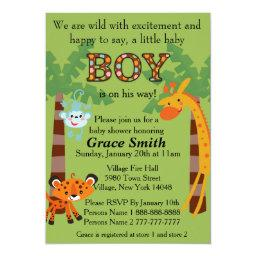 "Jungle Baby Shower Invite ""Boy"""