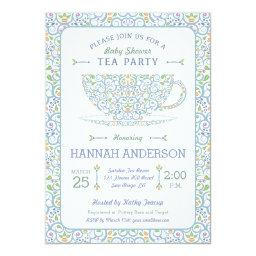 Lacy Teacup Baby Shower Blue Tea Party