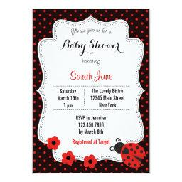 Ladybug Baby Shower  Polka Dots Red