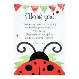 Ladybug Red Black Thank You  Note