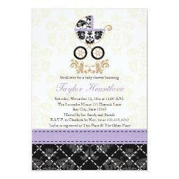 LAVENDER BLACK DAMASK BABY CARRIAGE BABY SHOWER