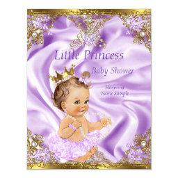 Lavender Gold Princess Baby Shower Brunette Girl