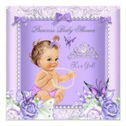 Lavender Gray Baby Shower Girl Brunette
