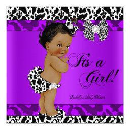 Leopard Cow Purple Girl Baby Shower Ethnic