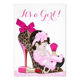 Leopard High Heel Shoe Girly Baby Shower