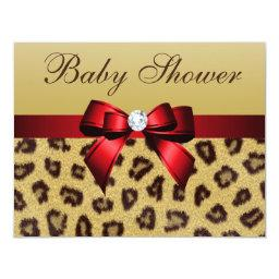 Leopard Print, Red Bow Baby Shower