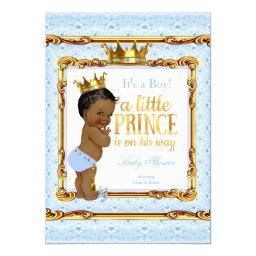 Light Blue Gold White Prince Baby Shower Ethnic