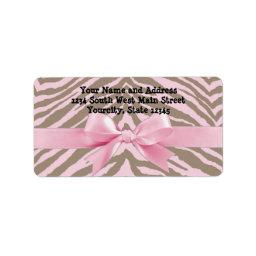Light Pink and Brown Zebra w/ Ribbon Bow Label