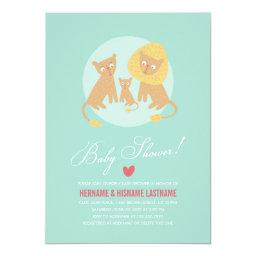 Lion Family Mint Couples  Invite Round