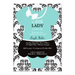 Little Lady  Invitation, Blue, Pearls
