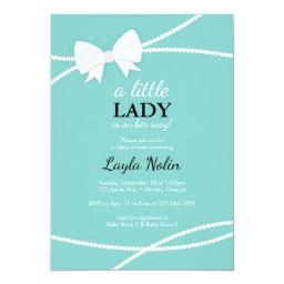 Little Lady Baby Shower Invitation, Blue, Pearls