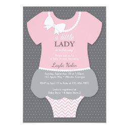 Little Lady  Invitation, Pink, Pearls