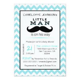 Little Lil' Man Mustache Boy Blue Baby Shower