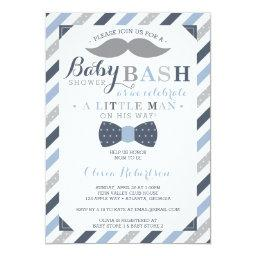Little Man  Invitation, Blue, Gray