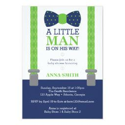 Little Man  Invitation, Blue, Green