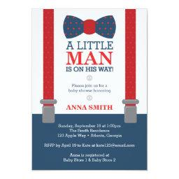 Little Man  Invitation, Blue, Red