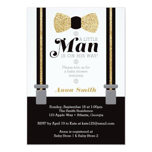 Little Man  Invitation, Faux Glitter