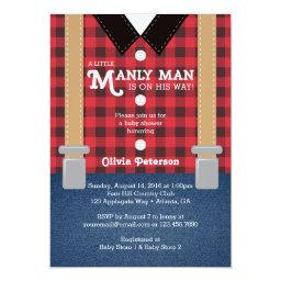 Little Man Baby Shower Invitation, Lumberjack