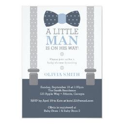 Little Man Baby Shower Invitation, Navy Blue, Gray