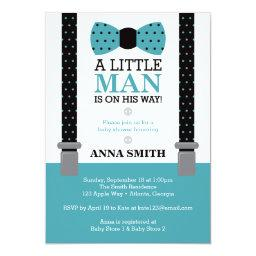 Little Man  Invitation, Teal and Black
