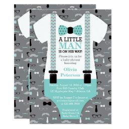 Little Man  Invitation, Teal, Black