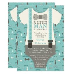 Little Man  Invitation, Teal, Tan