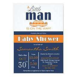 Little Man Baby Shower Navy Blue and Orange