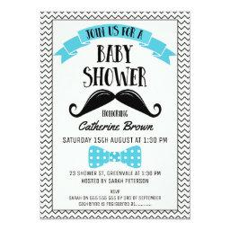 Little Man Chevron Mustache Baby Shower