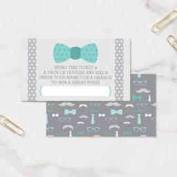 Little Man Diaper Raffle Ticket, Teal, Gray