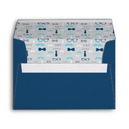 Little Man Envelope, Mustache, Baby Blue, Navy Envelope
