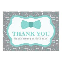 Little Man Thank You , Bow Tie, Turqoise, Gray
