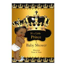 Little Prince Baby Shower Boy Crown Gold Ethnic
