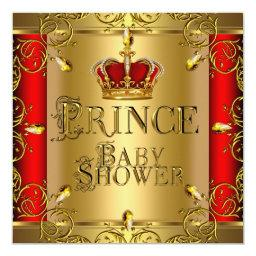 Little Prince Baby Shower Boy Regal Red Gold Crown