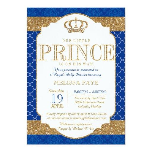 baby shower little prince royal blue gold baby shower card
