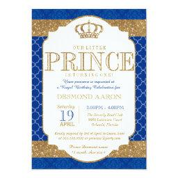 Little Prince Royal Blue Gold Birthday or Shower
